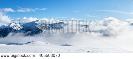 Ski Resort Landscape On Clear Sunny Day. Panoramic View Of Mountains Near Brianson, Serre Chevalier