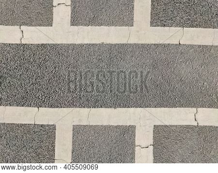 Highway Road Texture For Guided Traffic Movement White Painted Crossing Meeting Of Highways