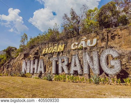Landmark - Word Nha Trang Made Of Stone Concrete Letters. Nha Trang Is Famouse Sea Tourist City In V