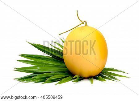 Orange Cantaloupe Melon Smooth Skin With Leaf Isolated On White Background