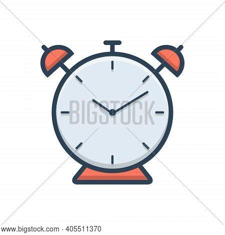 Color Illustration Icon For Alarm Clock Alarmclock Alert