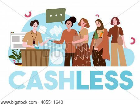 Cashless Payment Concept Women Hold Shopping Bag Pay Use App Smartphone In Cashier Counter With Flat