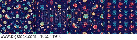 Seamless Spring Floral Pattern Set. Pastel Colors. Vector Floral Pattern In Doodle Style With Flower