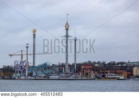 Stockholm, Sweden - January 16, 2020: View Of The Amusement Park In Central Stockholm.