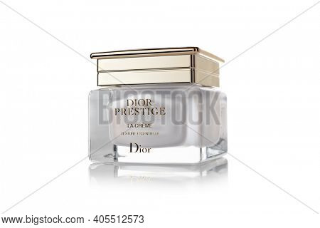 St.Petersburg, Russia - March 2020 - Bottle of cream Dior Prestige La Creme texture essentielle on white background. Product  from Christian Dior