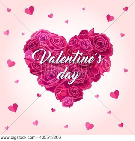 Valentine's Day. Heart-shaped Bouquet With Roses. Vector Illustration, Cards With Beautiful Flowers.