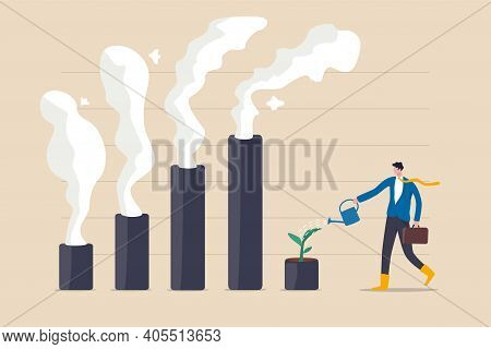 Climate Crisis And Environment Policy, Esg Or Ecology Problem Concept, Businessman Leader Watering S