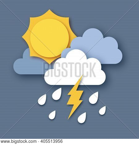 Sun With Raincloud And Lightening Bolt. Paper Cut Weather. Storm Time. Rain Drops In The Dark Sky An