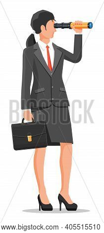 Businesswoman With Briefcase Looking For Opportunities In Spyglass. Business Woman With Telescope. S