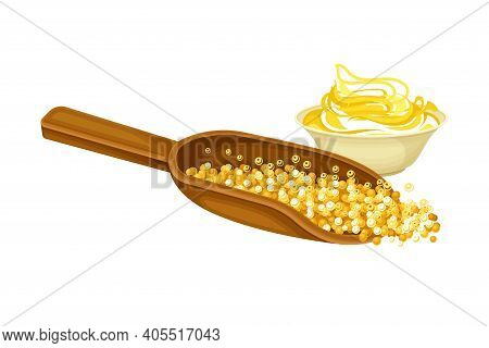 Yellow Mustard Sauce Or Paste In Bowl With Seeds In Wooden Scoop Vector Illustration