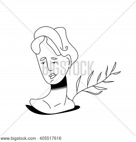Ancient Marble Sculpture Of A Female Body With A Growing Twig. Greek Statue. Linear Sketches. Variou