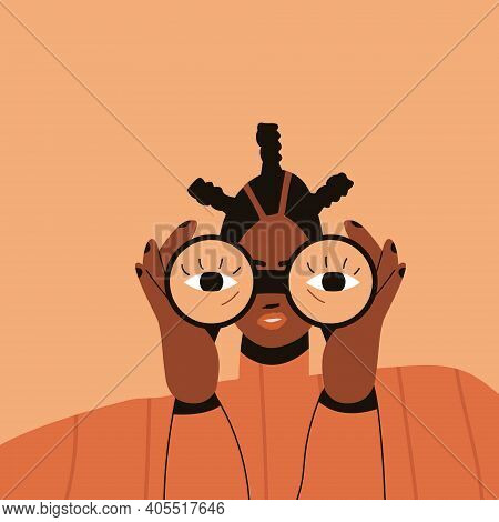 Black Woman With Curly Hair Looks Through Binoculars. Black Lives Matter. The Concept Of Combating R