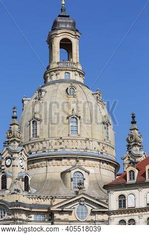 Dresden, Germany - September 23, 2020 : 18th Century Barogue Church Of The Virgin Mary (dresden Frau
