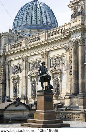 Dresden, Germany - September 23, 2020 : Statue Of Gottfried Semper, German Architect In Front Of Dre