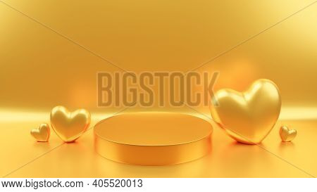 Circle Podium Gold Pastel Color Gold Heart. Valentine's Day Concept. Mock-up Showcase For Product. 3
