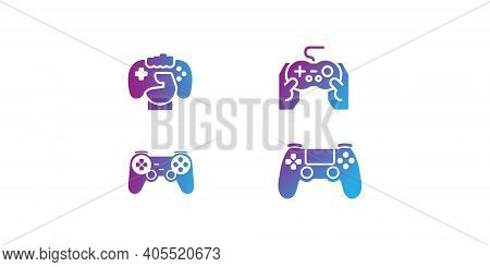 Outline Game Logo Vector, Video Games Icon Set. Game Genres And Attributes. Linear Design. Lines Wit