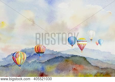 Watercolor Painting Colorful Hot Air Balloons Flying Over Mountain At Dot Inthanon In Chiang Mai, La