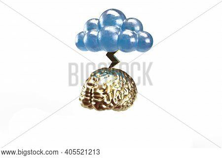 A Cloud Releasing  Lightening Stroke On Brain 3d Render