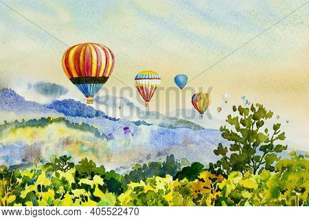 Watercolor Painting Colorful Hot Air Balloons Flying Over Mountain At Dot Inthanon In Chiang Mai, Th