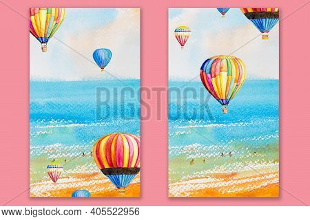 Mobile Smartphone; Phone Case Wallpaper Design. Cute Watercolor Family Tourist Flies In A Balloon, W