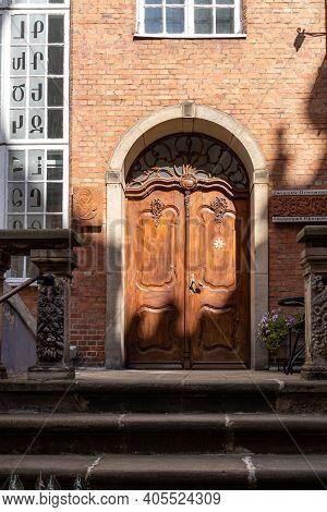 Gdansk, Poland - Sept 6, 2020: Entrance To Old House At Mariacka Street In Gdansk