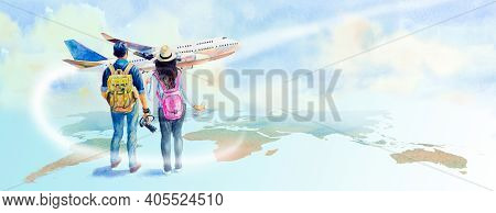 Travel To World. Watercolor Painting Illustration Asian Couple With Backpack Going Traveling With Ai