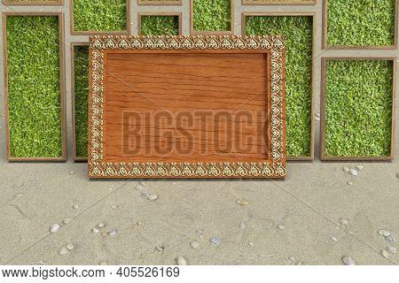 Wooden Photo Frame With Golden Heart Border 3d Render