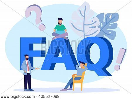 Vector Illustration Of A Question And Answer Concept, Seminar Discussion, Meeting Or Speech. The Ans