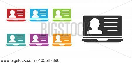 Black Laptop With Resume Icon Isolated On White Background. Cv Application. Searching Professional S