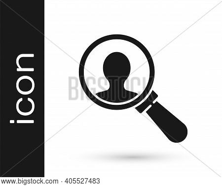 Grey Magnifying Glass For Search A People Icon Isolated On White Background. Recruitment Or Selectio