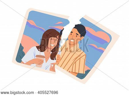 Torn Picture Of Happy Ex-couple. Break Up And End Of Romantic Relationship Concept. Two Pieces Of Ph