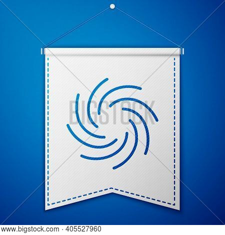 Blue Tornado Icon Isolated On Blue Background. Cyclone, Whirlwind, Storm Funnel, Hurricane Wind Or T