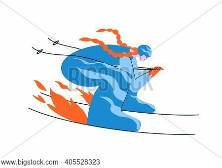 Hand-drawn Redhead Girl Skier In A Blue Suit. A Young Woman Skis In An Aerodynamic Pose At Full Spee