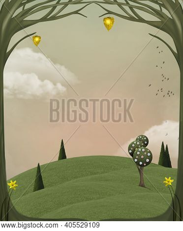Quiet Spring Background With Surreal Trees In A Green Meadow - 3d Illustration