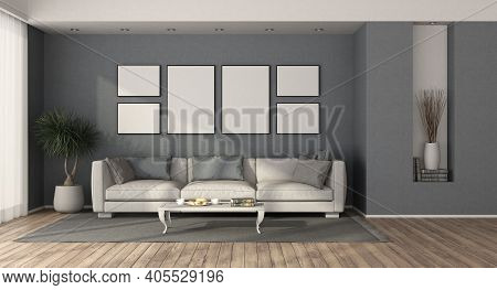 White Modern Sofa In A Minimalist Living Room With Blue Walls - 3d Rendering