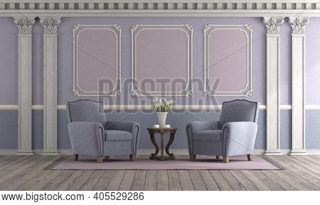 Retro Style Living Room With Pastel Color,elegant Armchair And Classic Decor Elements - 3d Rendering