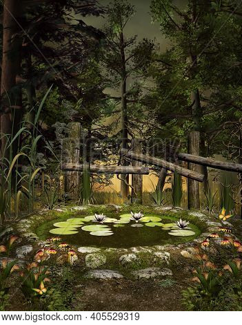 Little Enchanted Pond In A Quiet Nature Scenery - 3d Illustration