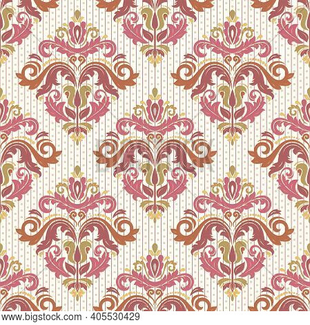 Classic Seamless Pattern. Damask Orient Colorful Ornament. Classic Vintage Background. Orient Orname