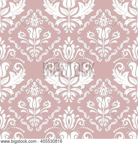 Orient Classic White Pattern. Seamless Abstract Background With Vintage Elements. Orient Background.