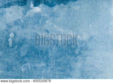 Distressed Overlay. Weathered Glass. Blue Stained Surface With White Dust Scratches Effect. Faded Gr