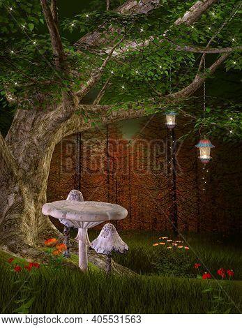 White Mushrooms Under A Fantasy Tree - 3d Illustration