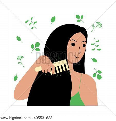 Young Brunette Woman Character Combs Her Long Loose Hair. Natural Herbal Cosmetics Wooden Comb Made