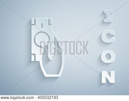 Paper Cut Fast Payments Icon Isolated On Grey Background. Fast Money Transfer Payment. Financial Ser