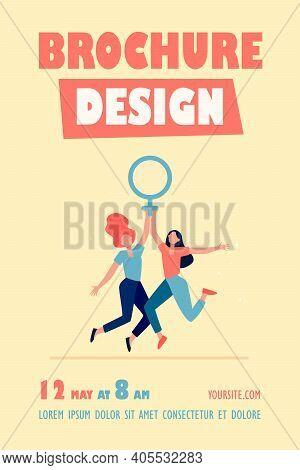 Two Girls Holding Female Symbol. Women With Venus Sign Celebrating Woman Day Flat Vector Illustratio