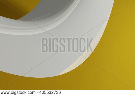 Shinny Abstract Computer Generated 3d Distorted Wave Like Shape On A Yellow Background