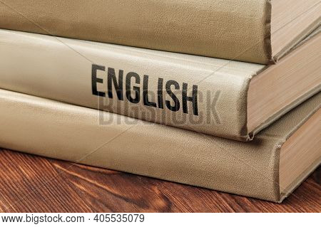 English Subject Book Concept On A Wooden Table For Learning