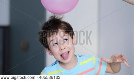 Surprised Cheerful Boy With Thorns In His Hair Without Static Electrification. Physics, Electrical E