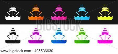 Set Cruise Ship Icon Isolated On Black And White Background. Travel Tourism Nautical Transport. Voya