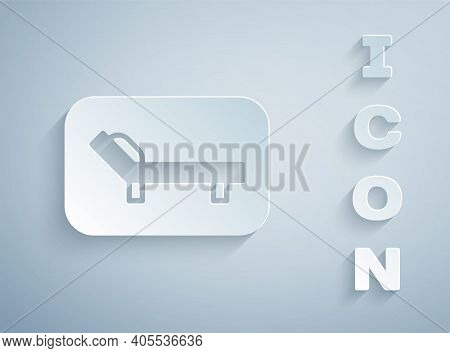Paper Cut Sunbed Icon Isolated On Grey Background. Sun Lounger. Paper Art Style. Vector