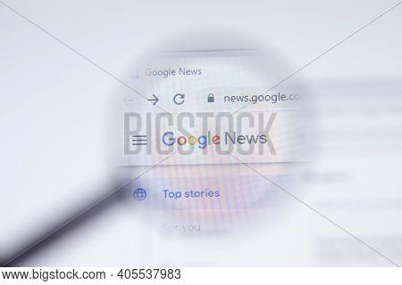 Saint Petersburg, Russia - 28 January 2021: Google News Website Page With Logo Close-up, Illustrativ